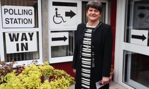 Arlene Foster at Brookeborough Primary School, County Fermanagh, to cast her vote