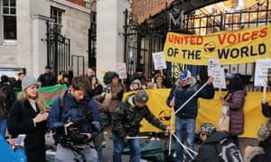 Hazel Falck filming the strike at St Mary's Hospital, London