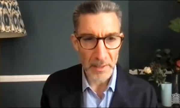 David Joseph speaks to MPs via video link on Tuesday
