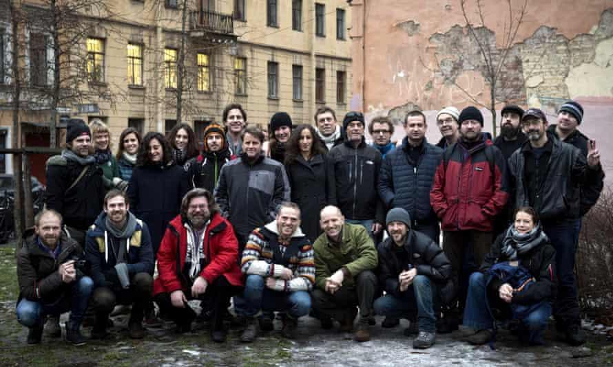 Twenty-six members of the Arctic 30 in Saint Petersburg after their release.