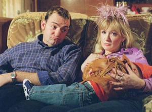 'I only had about nine' … Craig Cash as Dave and Aherne as Denise, with baby David, in The Royle Family