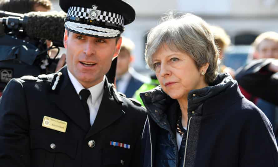 Theresa May talks with Wiltshire police's chief constable Kier Pritchard in Salisbury on Thursday.