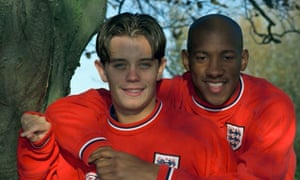 Lee Hendrie and Dion Dublin at Bisham Abbey in November 1998 during England training for the friendly against the Czech Republic