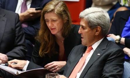 US ambassador Samantha Powers with secretary of state John Kerry