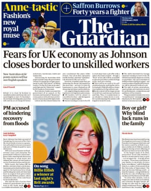 Guardian front page, Wednesday 19 February 2020