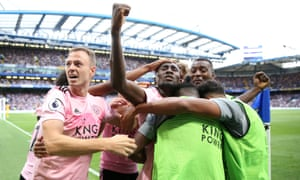 Wilfried Ndidi is mobbed by his Leicester teammates after equalising with a second-half header.
