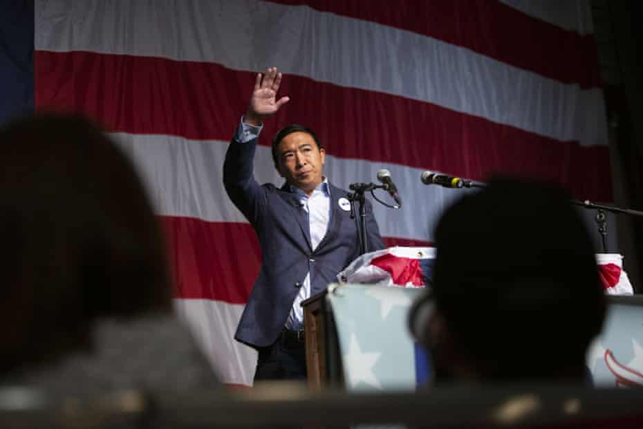 Andrew Yang, a 2020 presidential candidate, speaks during the Democratic Wing Ding event in Clear Lake, Iowa, on 9 August 2019.