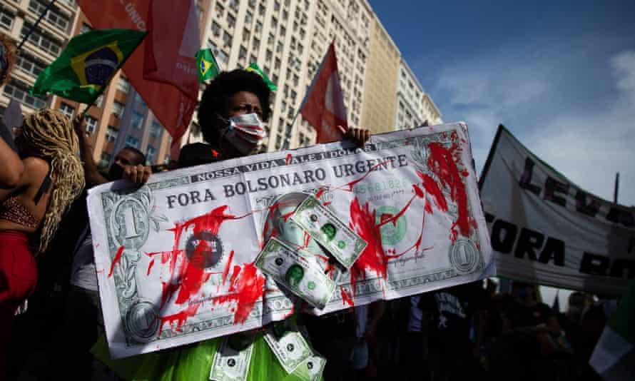 An anti-Bolsonaro protest in Rio de Janeiro on Saturday