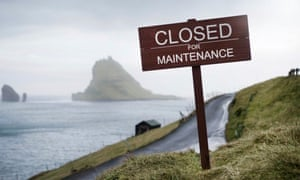 Sign reading 'Closed for Maintenance' on the Faroe Islands, part of a new campaign to promote the islands.