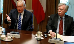 President  Donald Trump with the US national security adviser, John Bolton