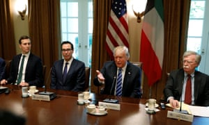 Jared Kushner, Steven Mnuchin, Trump and Bolton, in the cabinet room at the White House in September 2018.
