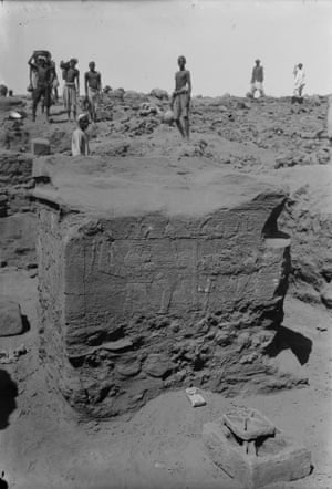 High altar with relief featuring Hapi the Egyptian Nile god, found in the central sanctuary of the Temple of Amun. Meroë, 1912