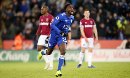 Wilfred Ndidi celebrates his late deflected equaliser that earned Leicester a point.