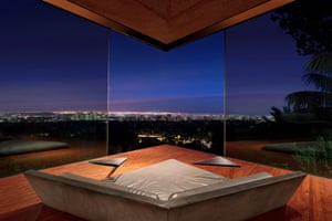 The house has spectacular views over the Los Angeles basin, encompassing the Pacific shoreline and stretching to the hills and mountains.