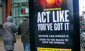 A new message on an advice board by HM Government: 'Act like you've got it, anyone can spread it, Stick to the rules to reduce the spread'