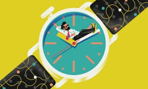 Illustration of man leaning back on watch face