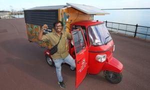 Naveen Rabelli and his solar-powered tuk-tuk at Dover Docks