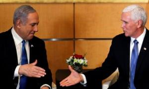 The Israeli prime minister, Benjamin Netanyahu, greets the US vice-president, Mike Pence, in Jerusalem on Thursday.