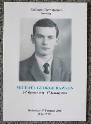 Order of service for Michael Rawson's funeral