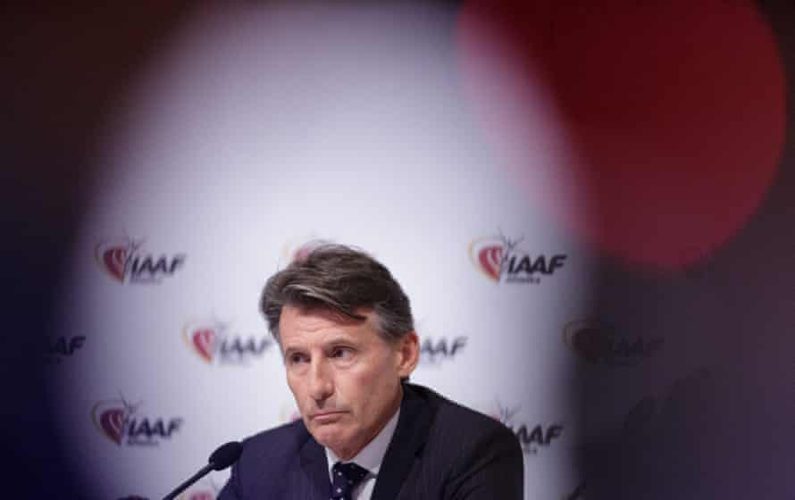 Sebastian Coe addresses a news conference after a council meeting in Vienna.