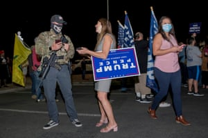 Donald Trump supporters outside of the Maricopa County recorder's office in Phoenix, Arizona