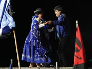 Morales dances on stage during his closing campaign rally ahead of elections in El Alto, on the outskirts of La Paz, in mid-October.