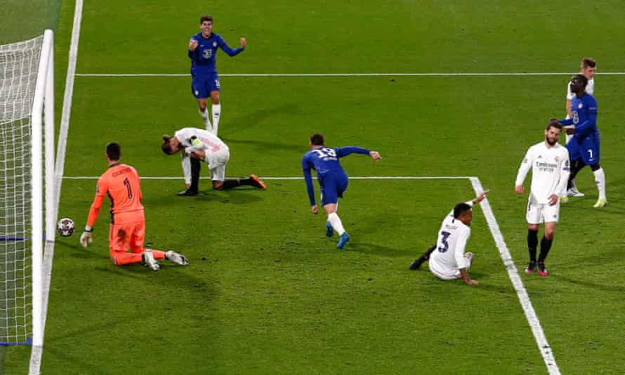 Real Madrid's defenders react with dismay as Mason Mount (centre) celebrates scoring Chelsea's decisive second goal in the Champions League semi-final second leg.