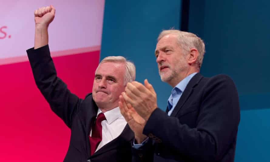 Shadow chancellor John McDonnell and the new leader Jeremy Corbyn at the Labour conference.