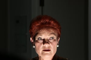 Pauline Hanson in the press gallery of Parliament House