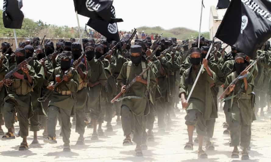 Al-Shabaab militants at a training base in Afgoye, west of the capital Mogadishu. Attacks have killed almost 40 people since Friday.