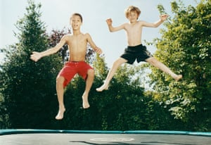 Boys on a trampoline
