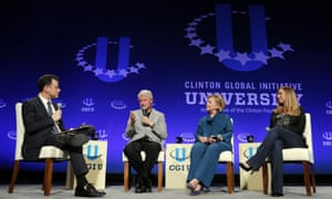 Talk show host Jimmy Kimmel, Bill Clinton, Hillary Clinton and Chelsea Clinton speak during a student conference for the Clinton Global Initiative University on 22 March 2014, at Arizona State University in Tempe, Arizona.