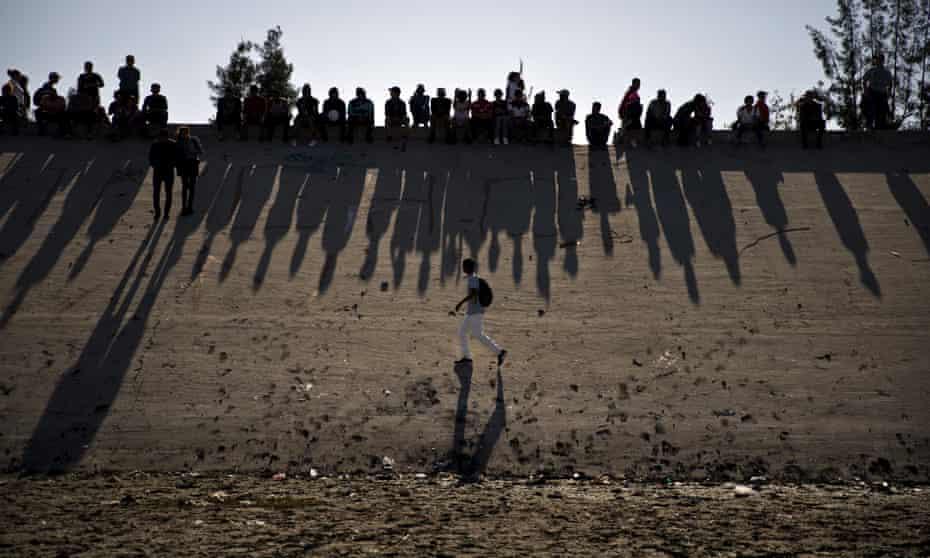 Migrants at the US-Mexico border in Tijuana.