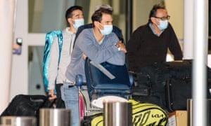 Rafael Nadal arrives at Adelaide airport on Saturday.