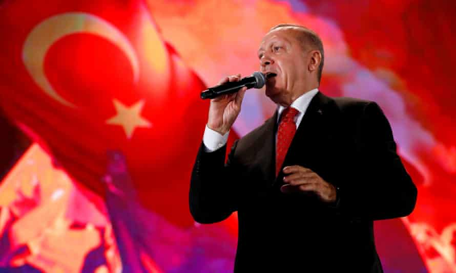 Recep Tayyip Erdoğan addresses his supporters at a ceremony marking the third anniversary of the attempted coup.