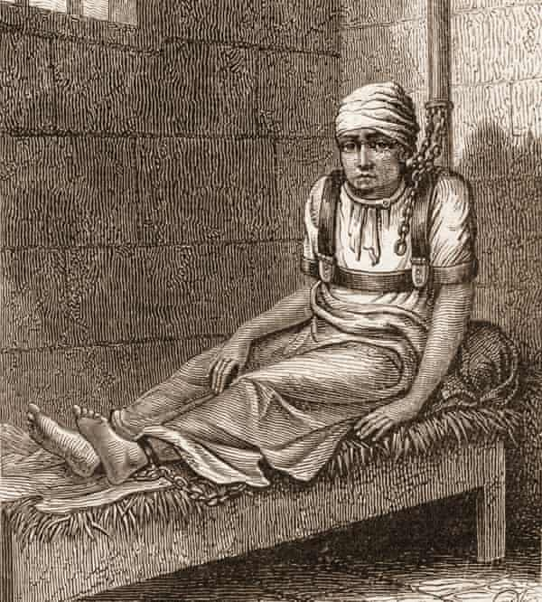 A wood engraving of patient James Norris restrained at Bethlem in 1814.