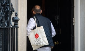 Dominic Cummings with his Vote Leave tote.