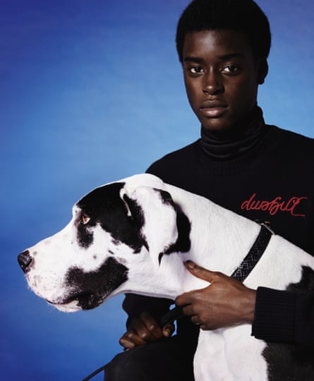 Man with large dog