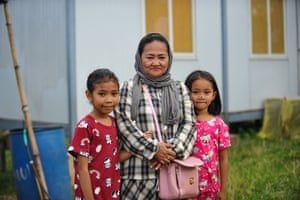 Mendine Dangcal with two of her children at the Bonganga transitory site