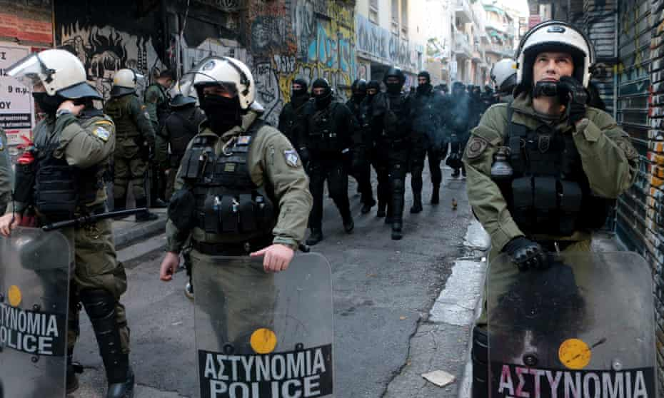 Police during a wave of evictions carried out in April.