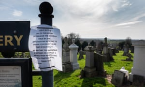 Old Monkland Cemetery in Lanarkshire, Scotland, asks the public to respect physical distancing guidelines.