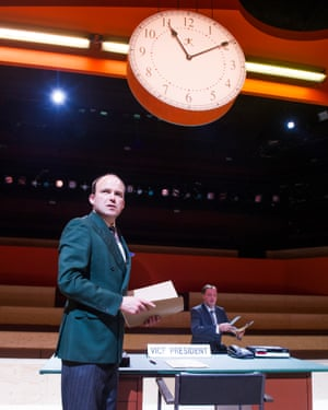 Rory Kinnear as Josef K and Neil Haigh (Clerk) in The Trial by Franz Kafka, directed by Richard Jones