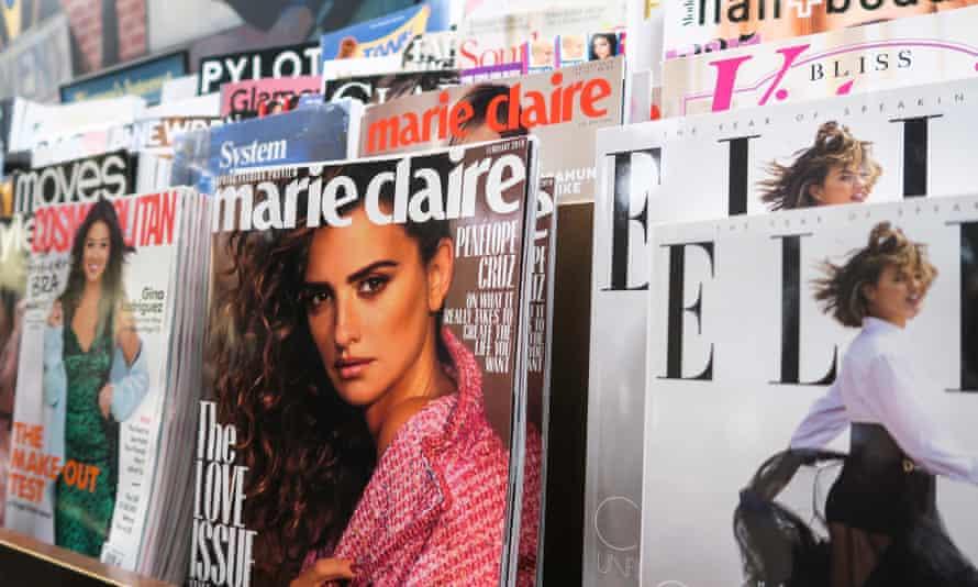 Glossy magazines on newsstand