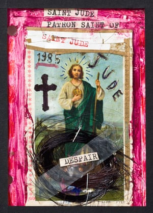 Saint Jude Patron Saint of Despair by Nick Cave, 1985 Ink, hair, plastic, paper, metal on paper Gift of Nick Cave, 2006, Australian Performing Arts Collection, Arts Centre Melbourne