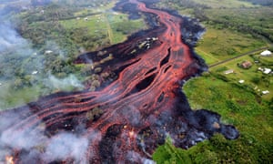 A forest is destroyed by lava after a massive eruption of the Kīlauea volcano in Hawaii on 22 May 2018