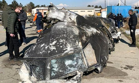 The remains of the Ukraine International Airlines plane that crashed outside the Iranian capital Tehran on 8 January.