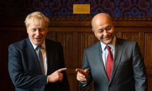 Boris Johnson meeting the president of Iraq, Barham Salih, at the Houses of Parliament today.