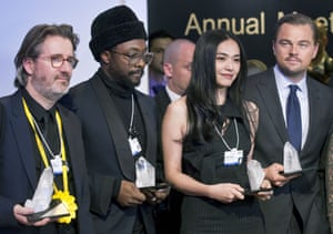 From left, Olafur Eliasson, will.i.am, Yao Chen and Leonardo DiCaprio