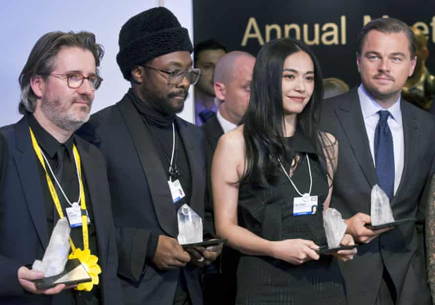 From left, Olafur Eliasson, will.i.am, Yao Chen and Leonardo DiCaprio