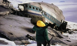 Archive image of a rescue worker at the crash site of the Air New Zealand plane that hit Mount Erebus in Antarctica in 1979, killing all 257 on board.